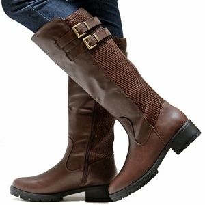 Shoes - New Brown Elastic Panel Knee High Riding Boots